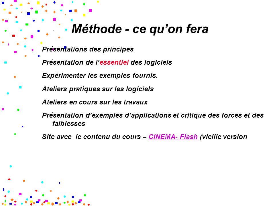 Méthode - ce quon fera Présentations des principes Présentation de lessentiel des logiciels Expérimenter les exemples fournis.