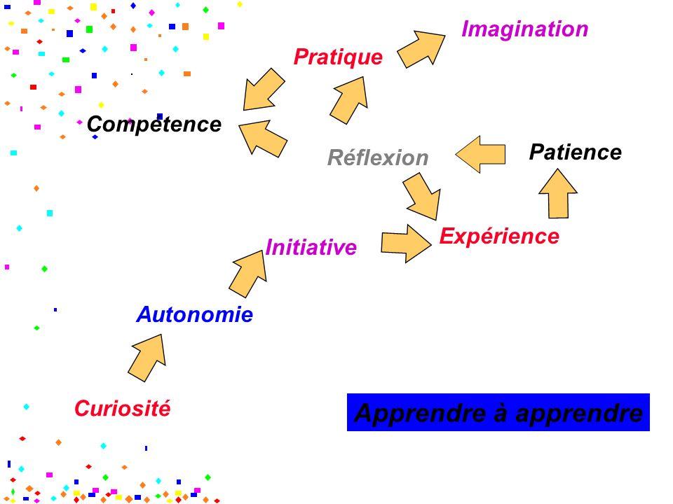 Curiosité Initiative Autonomie Expérience Patience Réflexion Pratique Imagination Compétence Apprendre à apprendre