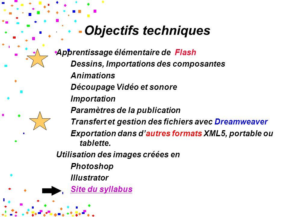 Objectifs techniques Apprentissage élémentaire de Flash Dessins, Importations des composantes Animations Découpage Vidéo et sonore Importation Paramètres de la publication Transfert et gestion des fichiers avec Dreamweaver Exportation dans dautres formats XML5, portable ou tablette.