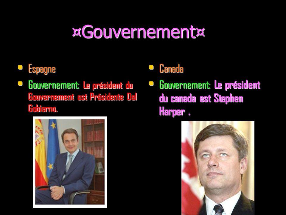 ¤Gouvernement¤ ¤Gouvernement¤ Espagne Espagne Gouvernement: Le président du Gouvernement est Présidente Del Gobierno.