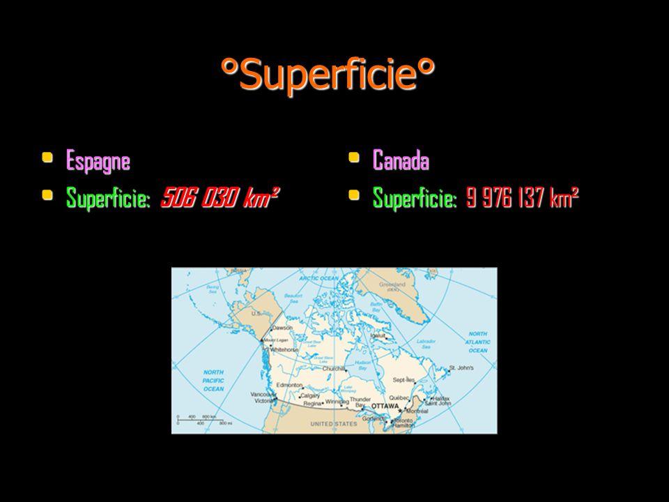 °Superficie° Espagne Espagne Superficie: 506 030 km² Superficie: 506 030 km² Canada Canada Superficie: 9 976 137 km² Superficie: 9 976 137 km²