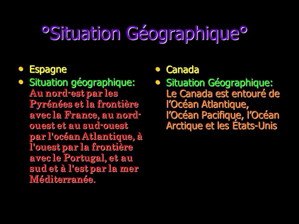 °Situation Géographique° °Situation Géographique° Espagne Espagne Situation géographique: Au nord-est par les Pyrénées et la frontière avec la France, au nord- ouest et au sud-ouest par l océan Atlantique, à l ouest par la frontière avec le Portugal, et au sud et à l est par la mer Méditerranée.