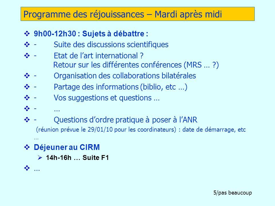 5/pas beaucoup Programme des réjouissances – Mardi après midi 9h00-12h30 : Sujets à débattre : - Suite des discussions scientifiques - Etat de lart in