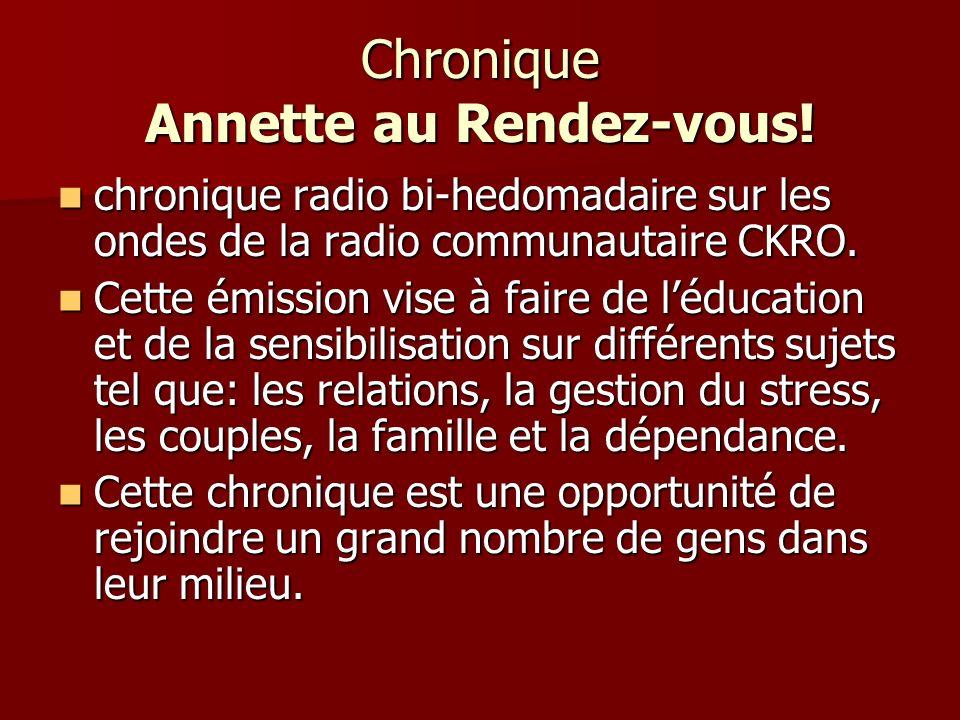 Chronique Annette au Rendez-vous.
