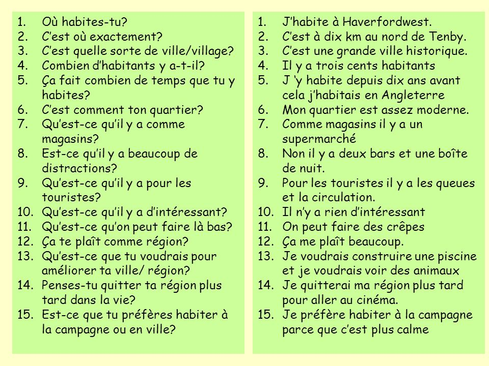 Topic 2b Your home village/town & area Parle-moi de ta maison Where you live: name, exact location, kind of place, numbers of inhabitants, length of time lived there What the place is like: shops, facilities, things for tourists, places of interest.