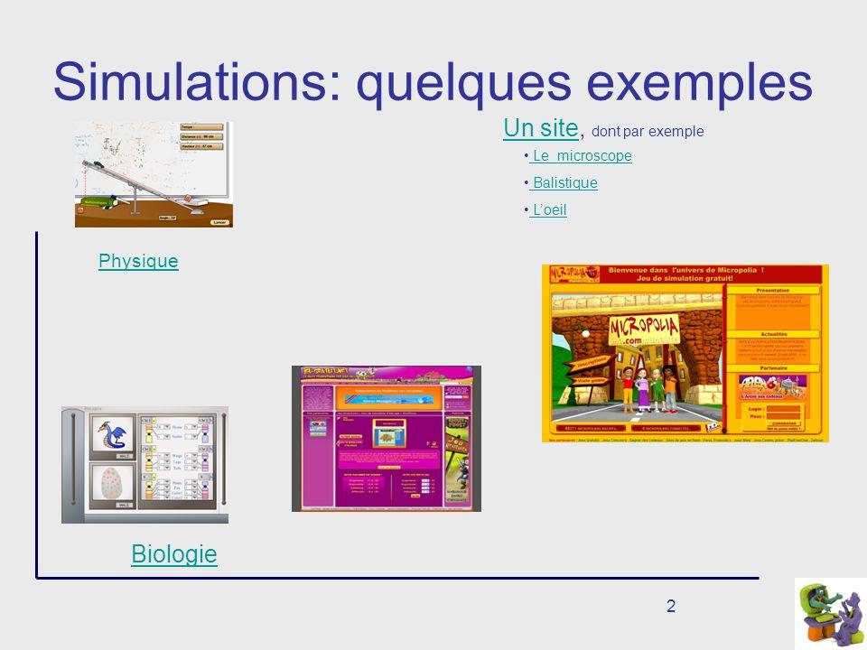 2 Simulations: quelques exemples Physique Biologie Le microscope Balistique Un siteUn site, dont par exemple Loeil