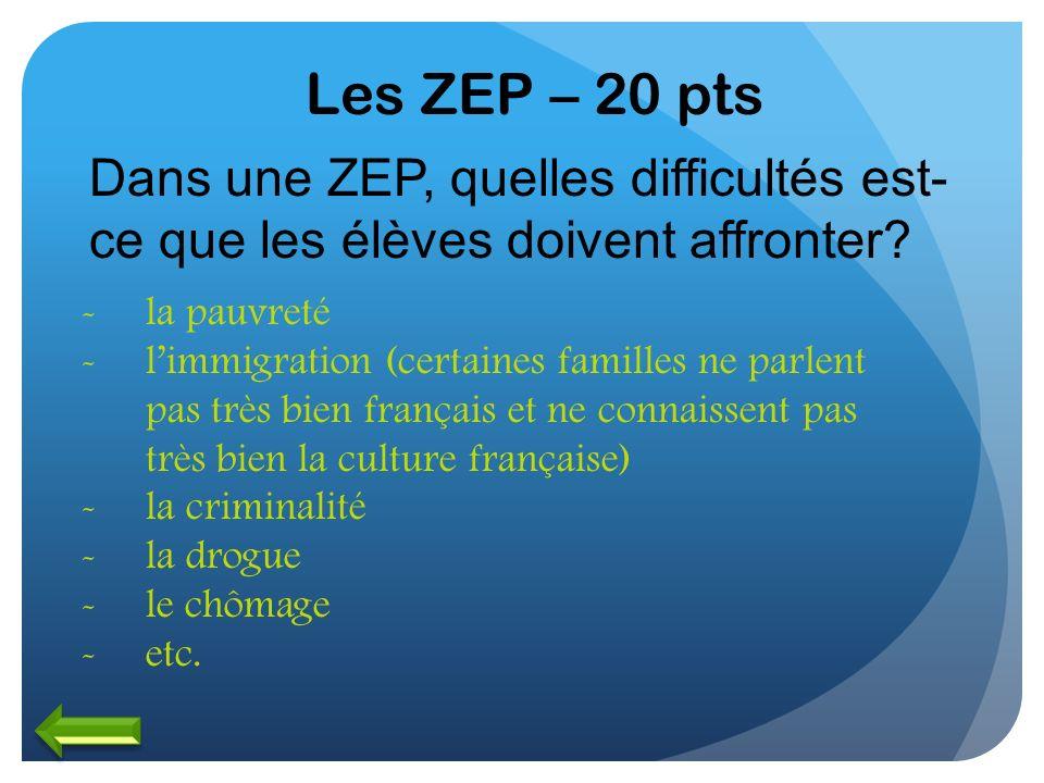 Les ZEP – 20 pts Dans une ZEP, quelles difficultés est- ce que les élèves doivent affronter? -la pauvreté -limmigration (certaines familles ne parlent