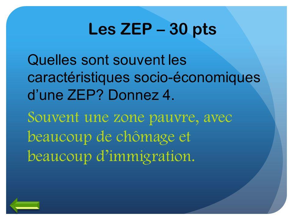 Les ZEP – 30 pts Quelles sont souvent les caractéristiques socio-économiques dune ZEP? Donnez 4. Souvent une zone pauvre, avec beaucoup de chômage et