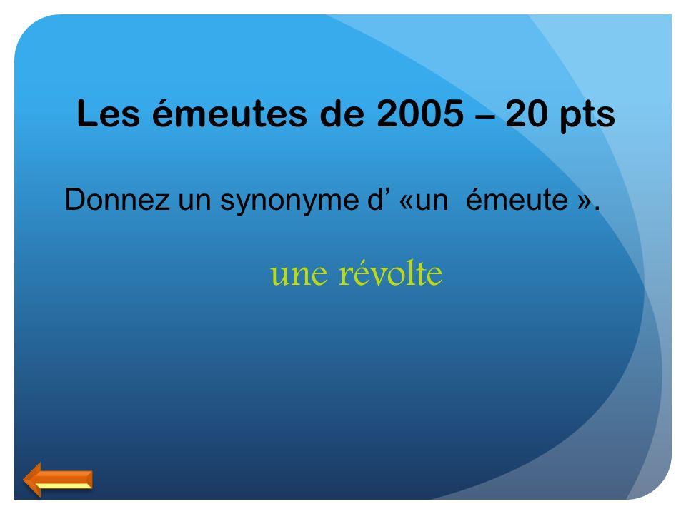 Les émeutes de 2005 – 20 pts Donnez un synonyme d «un émeute ». une révolte