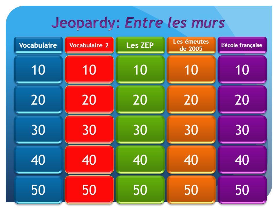 Lécole française Les émeutes de 2005 Les ZEP Vocabulaire 2 Vocabulaire 50 40 30 20 10 20 30 40 50 10 20 30 40 50 10 20 30 40 50 10 20 30 40 50