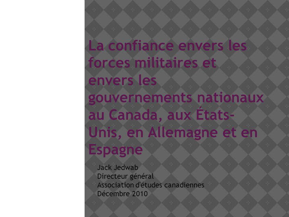 La confiance envers les forces militaires et envers les gouvernements nationaux au Canada, aux États- Unis, en Allemagne et en Espagne Jack Jedwab Directeur général Association d études canadiennes Décembre 2010
