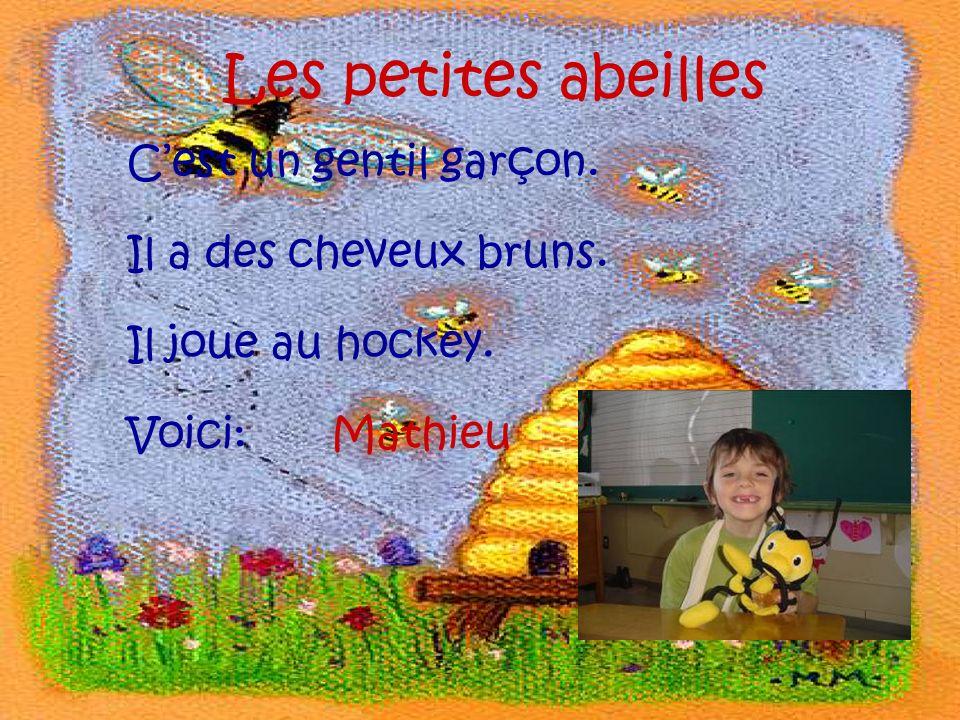 Les petites abeilles Cest un gentil garçon. Il a des cheveux bruns. Il joue au hockey. Voici:Mathieu
