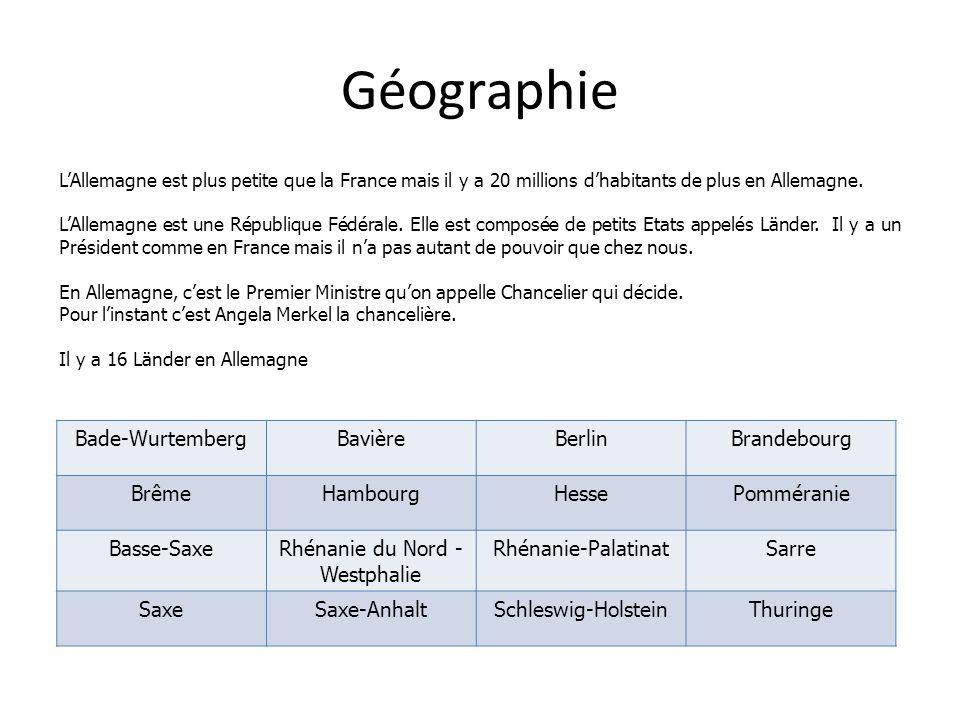 Géographie LAllemagne est plus petite que la France mais il y a 20 millions dhabitants de plus en Allemagne. LAllemagne est une République Fédérale. E