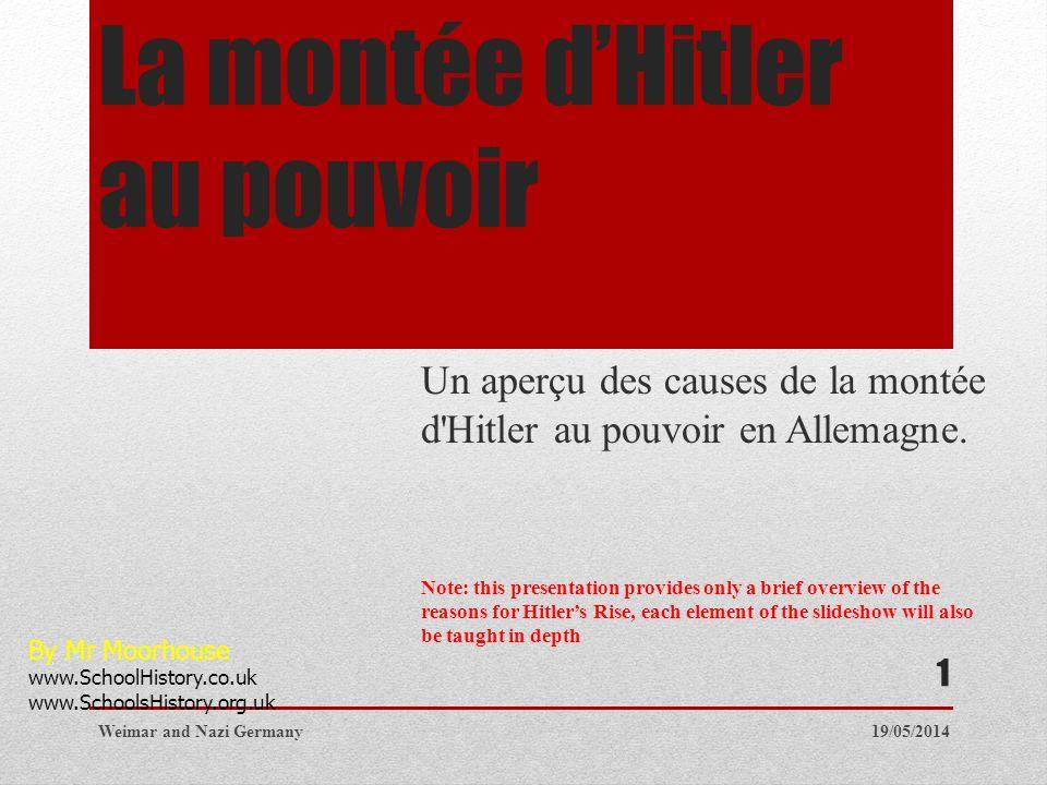 La montée dHitler au pouvoir Un aperçu des causes de la montée d'Hitler au pouvoir en Allemagne. Note: this presentation provides only a brief overvie
