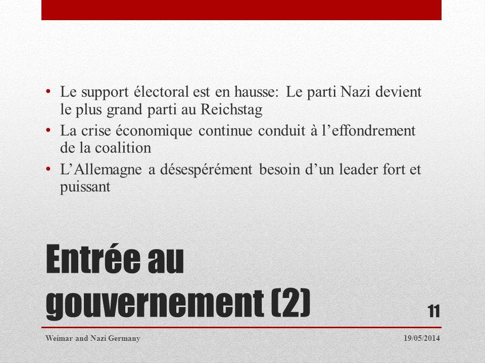 Entrée au gouvernement (2) Le support électoral est en hausse: Le parti Nazi devient le plus grand parti au Reichstag La crise économique continue con