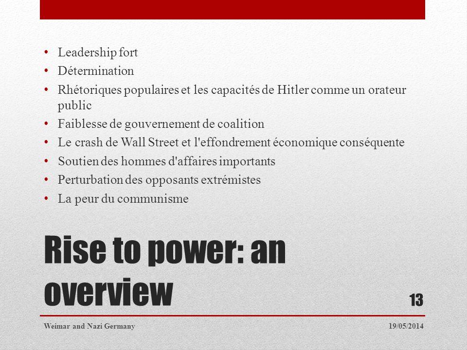 Rise to power: an overview Leadership fort Détermination Rhétoriques populaires et les capacités de Hitler comme un orateur public Faiblesse de gouver