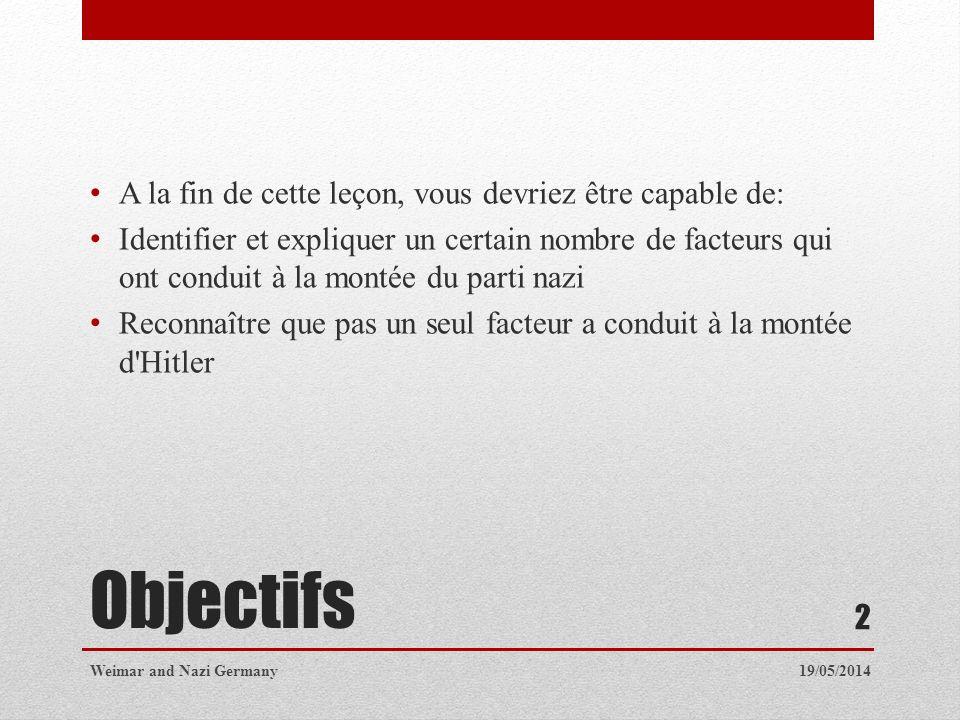 Vue densemble Le parti nazi a été formé en 1919 Hitler a rejoint le parti peu de temps après sa création Allemagne était dans un état de désarroi après la Première Guerre mondiale Il y avait beaucoup de groupes extrémistes en Allemagne à l époque 19/05/2014Weimar and Nazi Germany 3