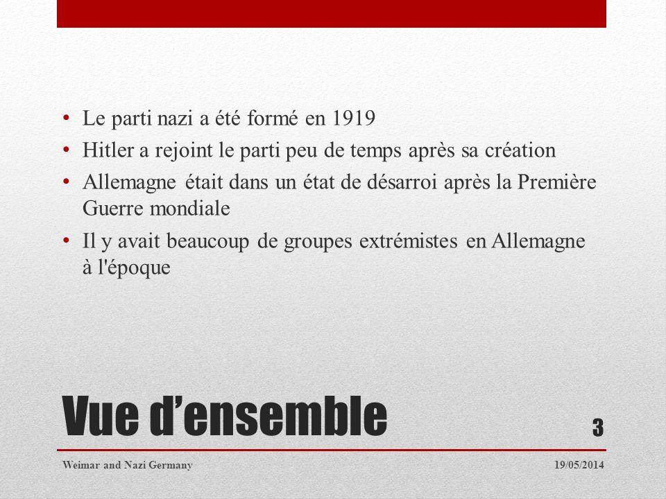 Vue densemble Le parti nazi a été formé en 1919 Hitler a rejoint le parti peu de temps après sa création Allemagne était dans un état de désarroi aprè