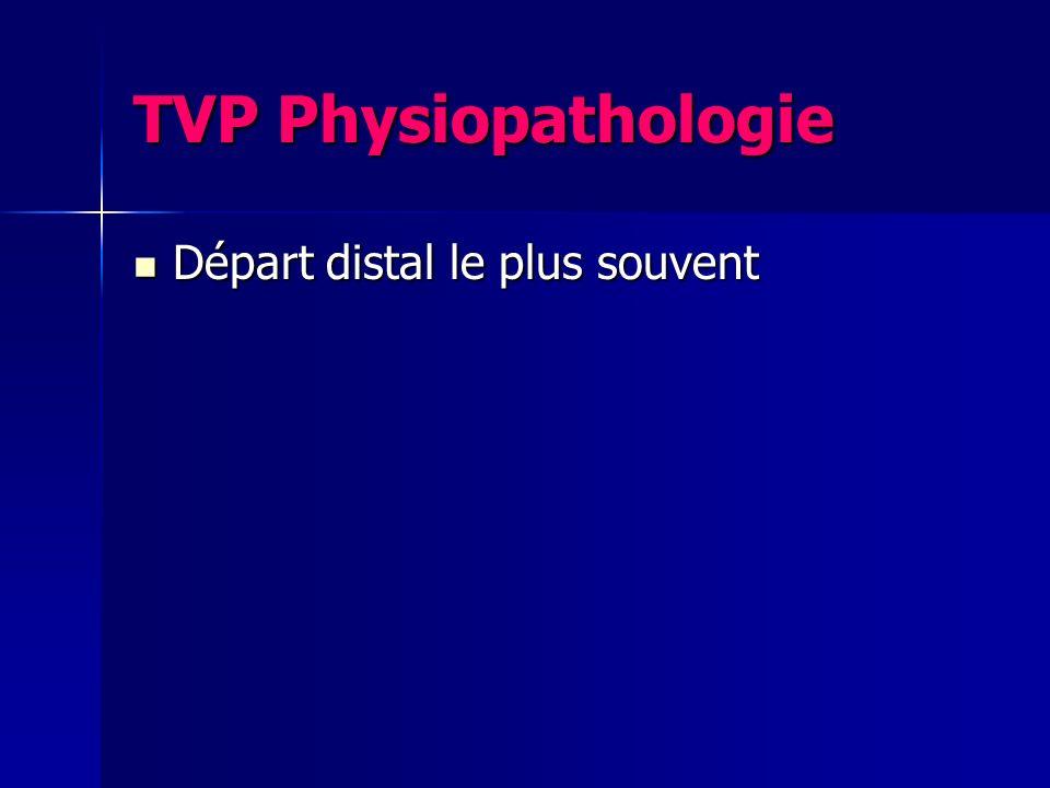 TVP Physiopathologie Départ distal le plus souvent Départ distal le plus souvent
