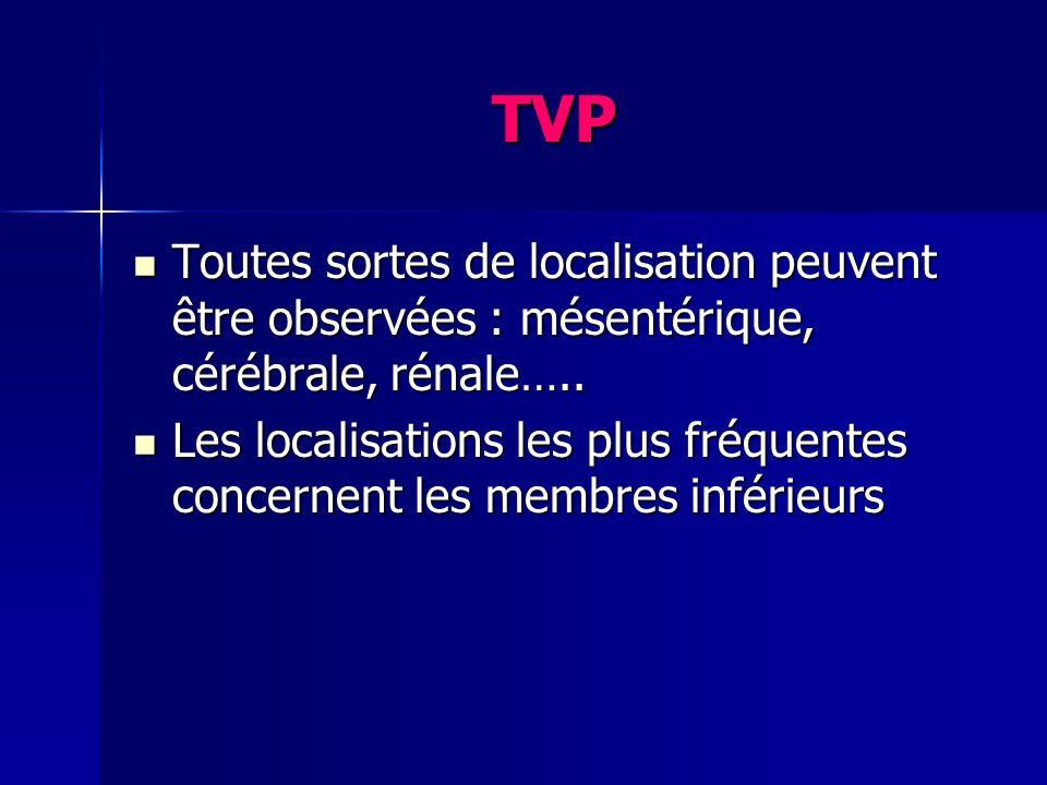 TVP Toutes sortes de localisation peuvent être observées : mésentérique, cérébrale, rénale….. Toutes sortes de localisation peuvent être observées : m