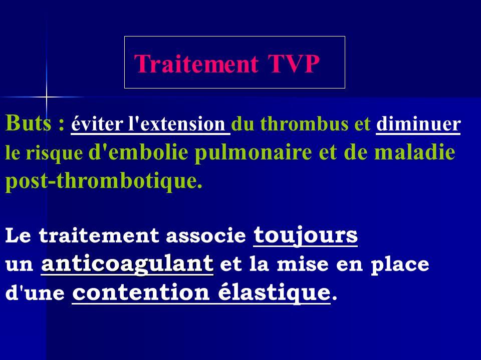Traitement TVP Buts : éviter l'extension du thrombus et diminuer le risque d'embolie pulmonaire et de maladie post-thrombotique. Le traitement associe