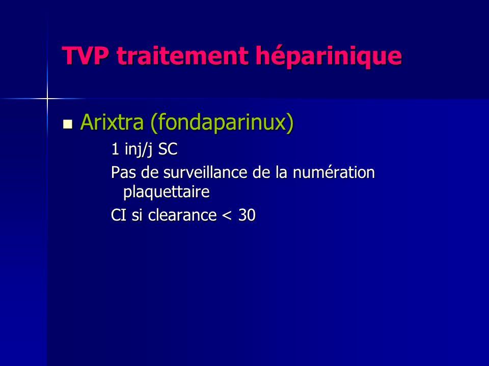 TVP traitement héparinique Arixtra (fondaparinux) Arixtra (fondaparinux) 1 inj/j SC Pas de surveillance de la numération plaquettaire CI si clearance
