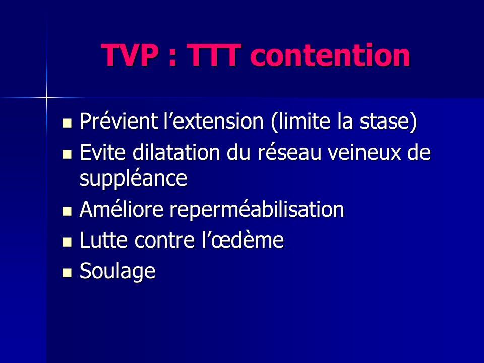 TVP : TTT contention Prévient lextension (limite la stase) Prévient lextension (limite la stase) Evite dilatation du réseau veineux de suppléance Evit