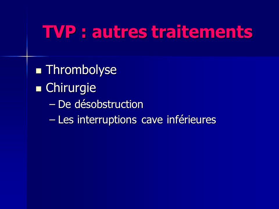 TVP : autres traitements Thrombolyse Thrombolyse Chirurgie Chirurgie –De désobstruction –Les interruptions cave inférieures