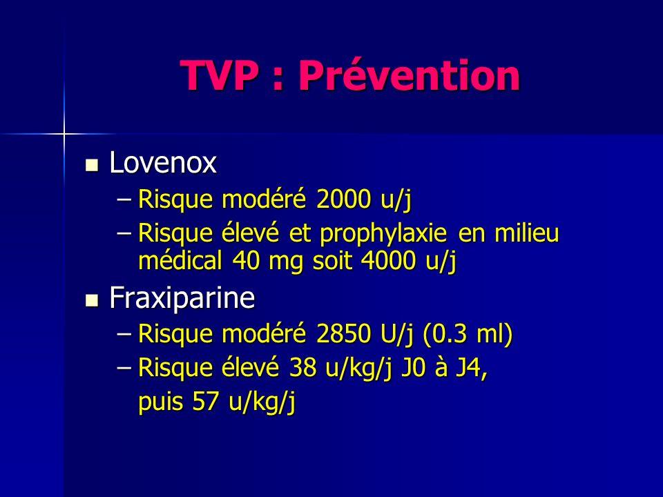 TVP : Prévention Lovenox Lovenox –Risque modéré 2000 u/j –Risque élevé et prophylaxie en milieu médical 40 mg soit 4000 u/j Fraxiparine Fraxiparine –R