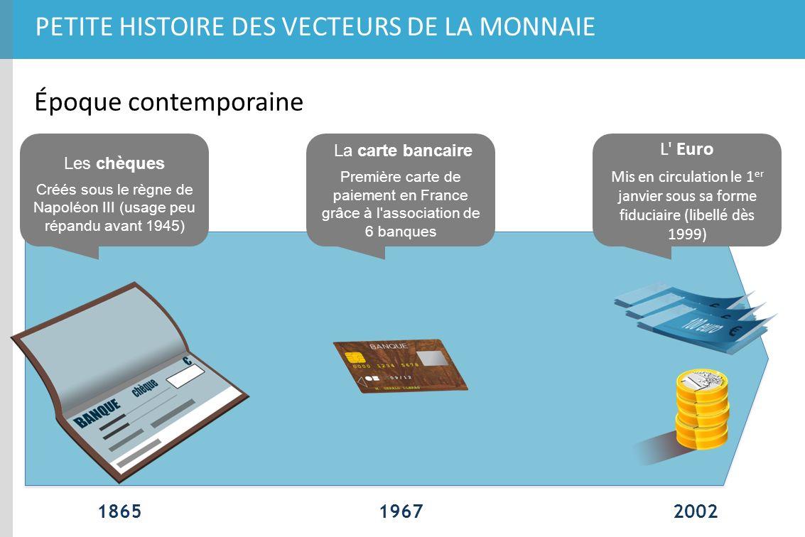 PETITE HISTOIRE DES VECTEURS DE LA MONNAIE 196718652002 Époque contemporaine L' Euro Mis en circulation le 1 er janvier sous sa forme fiduciaire (libe