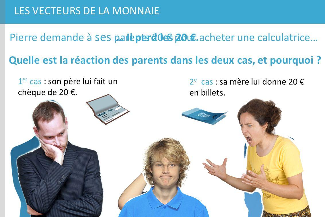 LES VECTEURS DE LA MONNAIE Pierre demande à ses parents 20 pour acheter une calculatrice… Quelle est la réaction des parents dans les deux cas, et pou