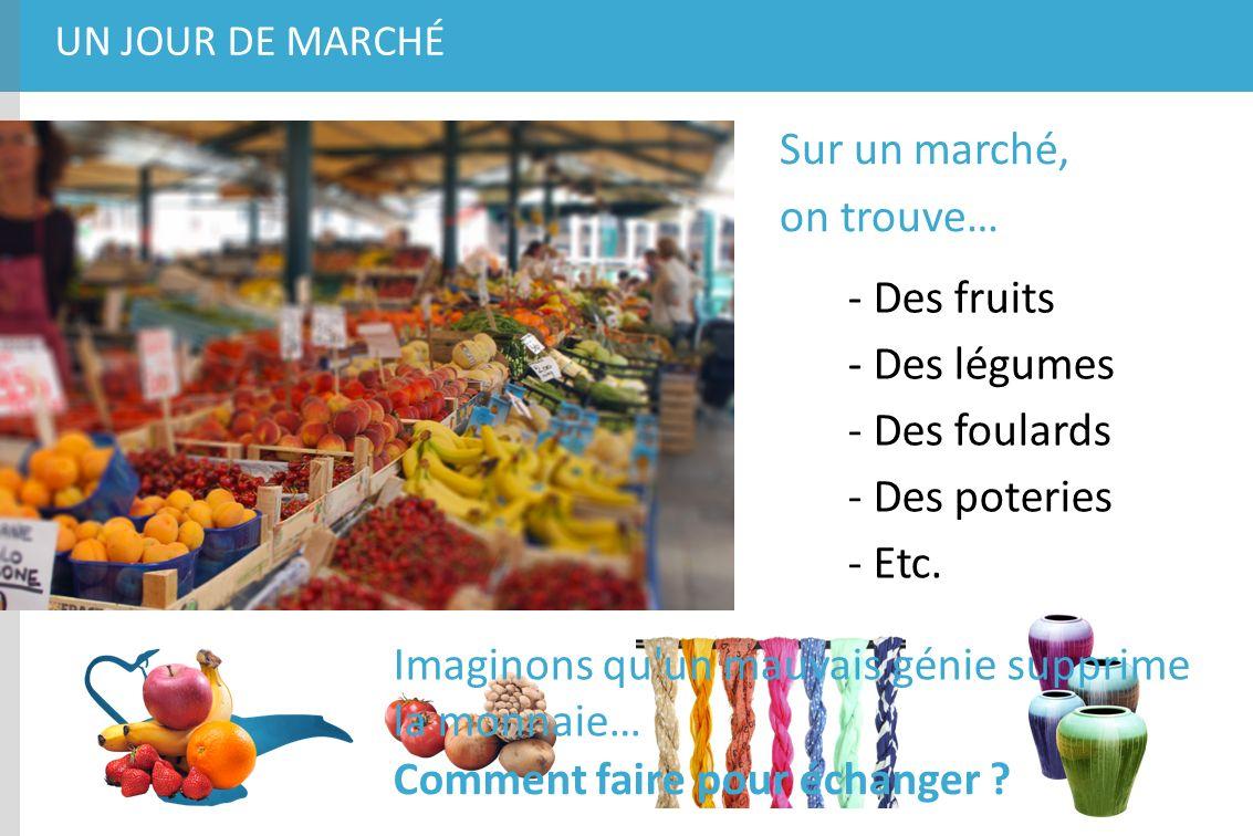UN JOUR DE MARCHÉ Sur un marché, on trouve… - Des fruits - Des légumes - Des foulards - Des poteries - Etc. Imaginons qu'un mauvais génie supprime la