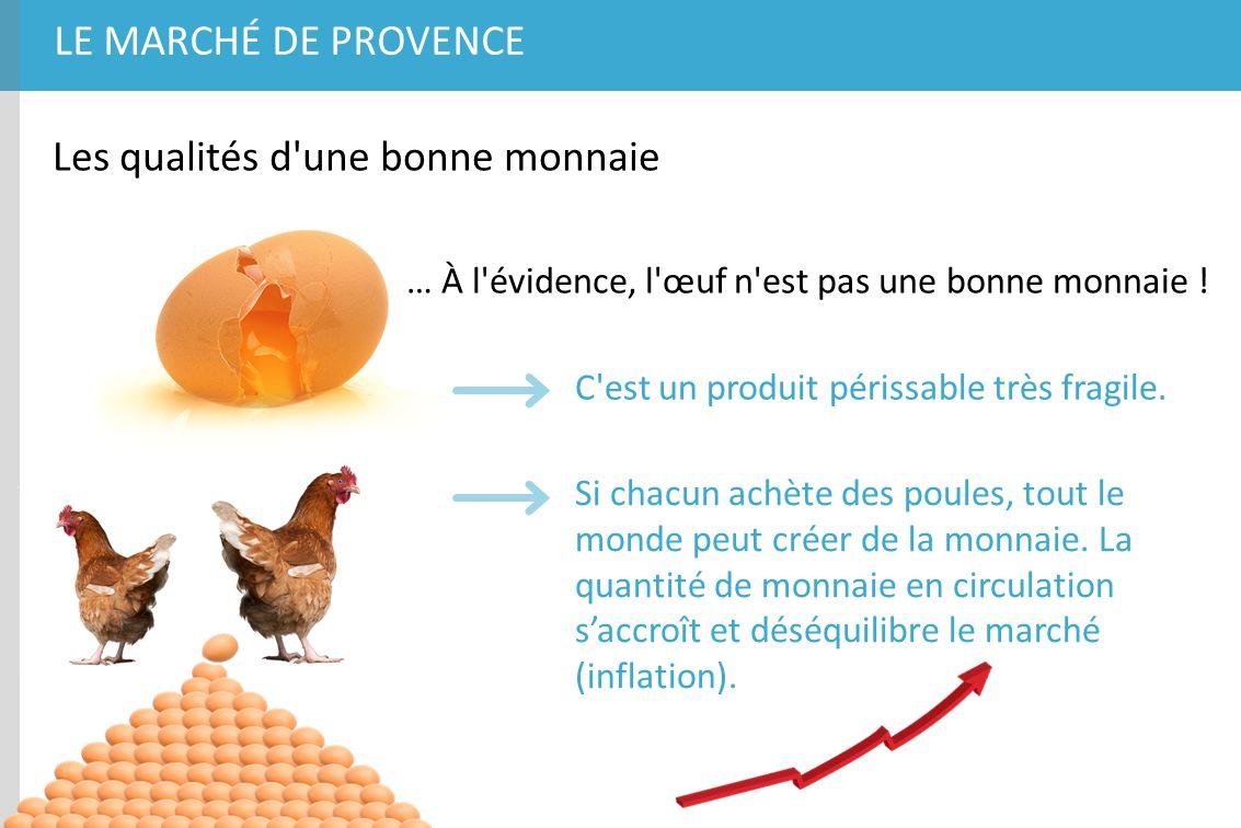 LE MARCHÉ DE PROVENCE Les qualités d'une bonne monnaie … À l'évidence, l'œuf n'est pas une bonne monnaie ! C'est un produit périssable très fragile. S