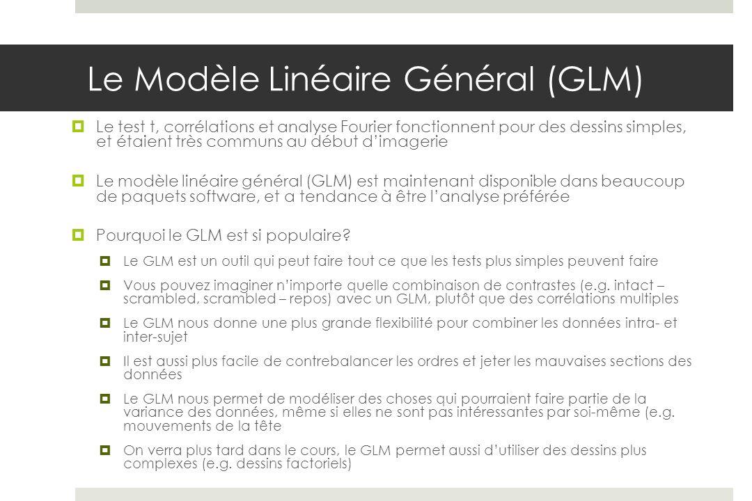 Le Modèle Linéaire Général (GLM) Le test t, corrélations et analyse Fourier fonctionnent pour des dessins simples, et étaient très communs au début di