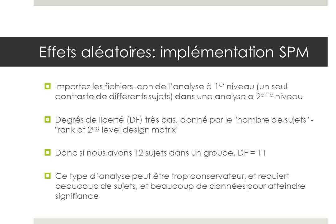 Effets aléatoires: implémentation SPM Importez les fichiers.con de lanalyse à 1 er niveau (un seul contraste de différents sujets) dans une analyse a