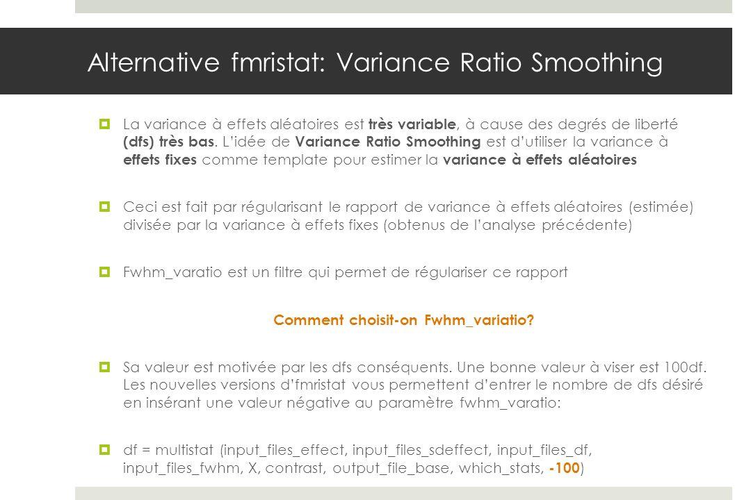 Alternative fmristat: Variance Ratio Smoothing La variance à effets aléatoires est très variable, à cause des degrés de liberté (dfs) très bas. Lidée