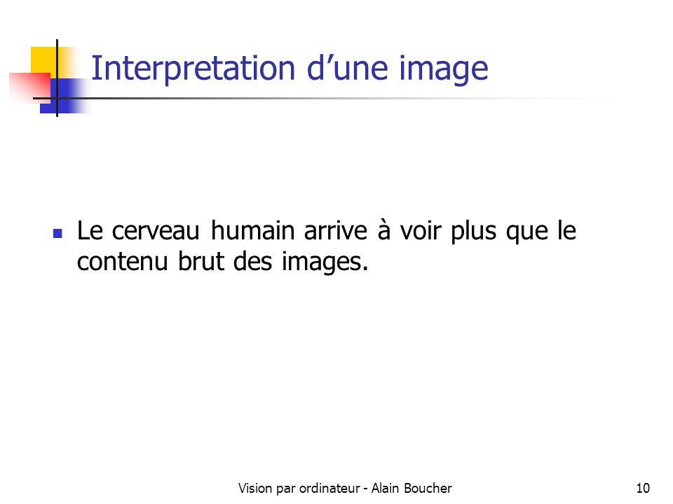 Vision par ordinateur - Alain Boucher10 Interpretation dune image Le cerveau humain arrive à voir plus que le contenu brut des images.