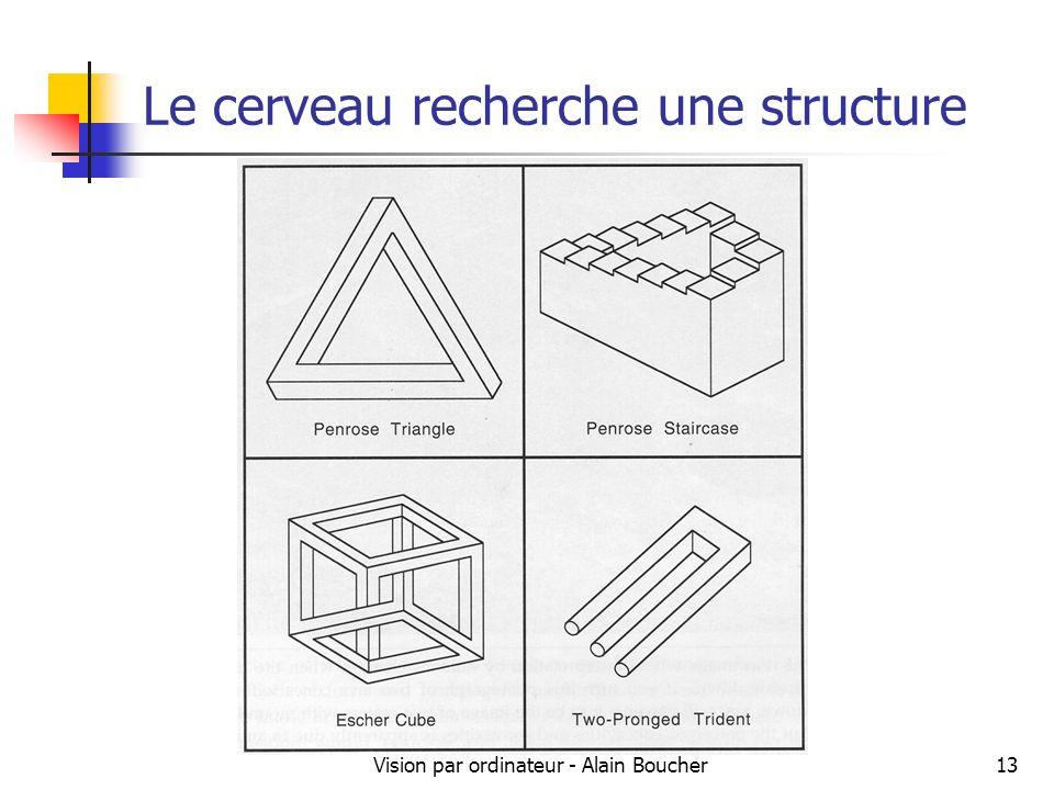 Vision par ordinateur - Alain Boucher13 Le cerveau recherche une structure