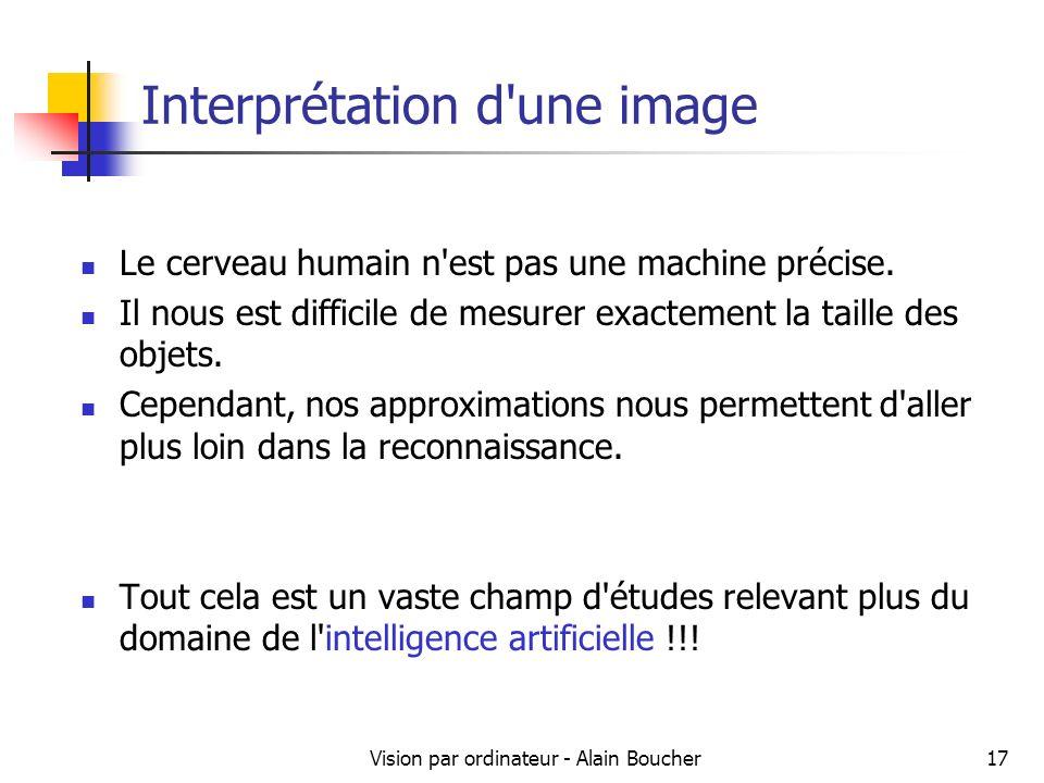Vision par ordinateur - Alain Boucher17 Interprétation d une image Le cerveau humain n est pas une machine précise.
