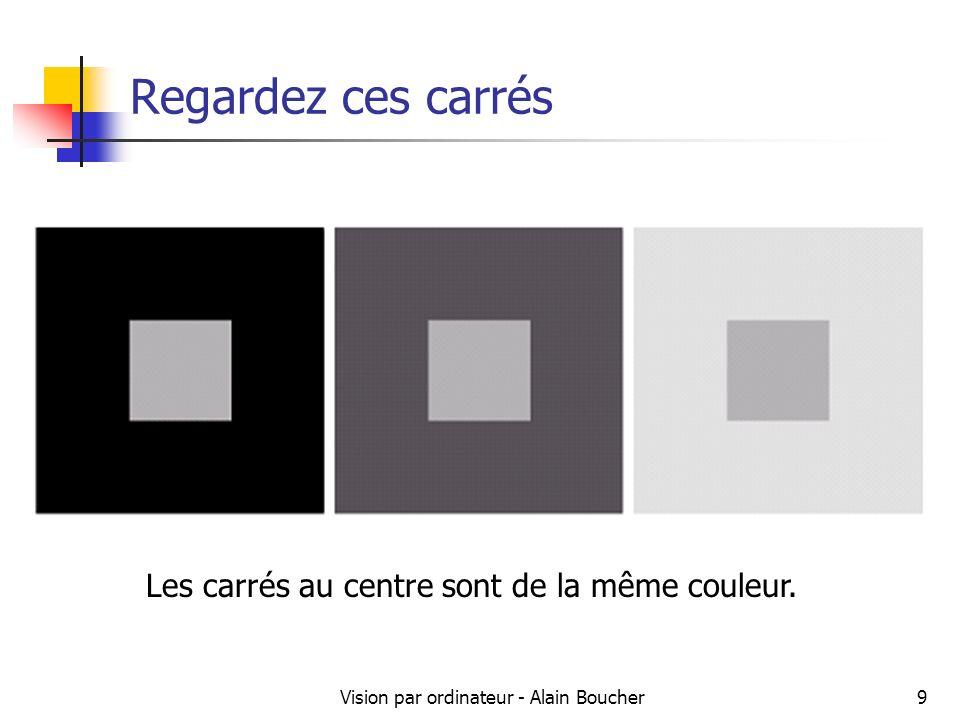 Vision par ordinateur - Alain Boucher9 Regardez ces carrés Les carrés au centre sont de la même couleur.