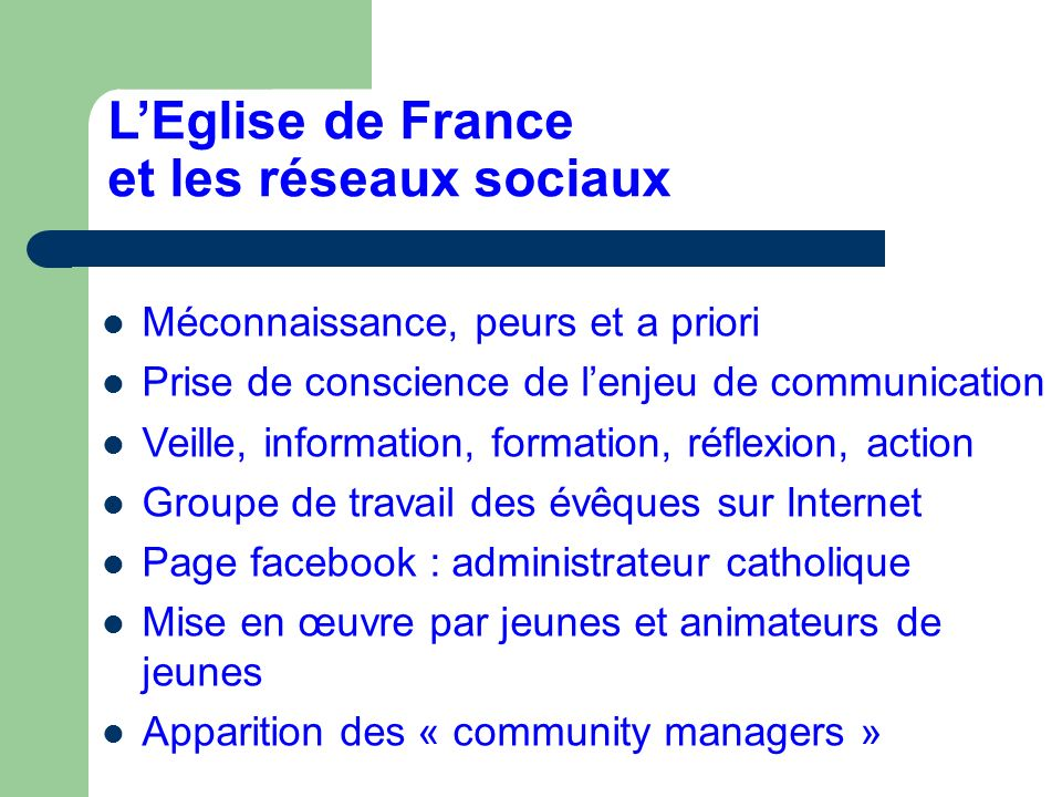 LEglise de France et les réseaux sociaux Méconnaissance, peurs et a priori Prise de conscience de lenjeu de communication Veille, information, formati
