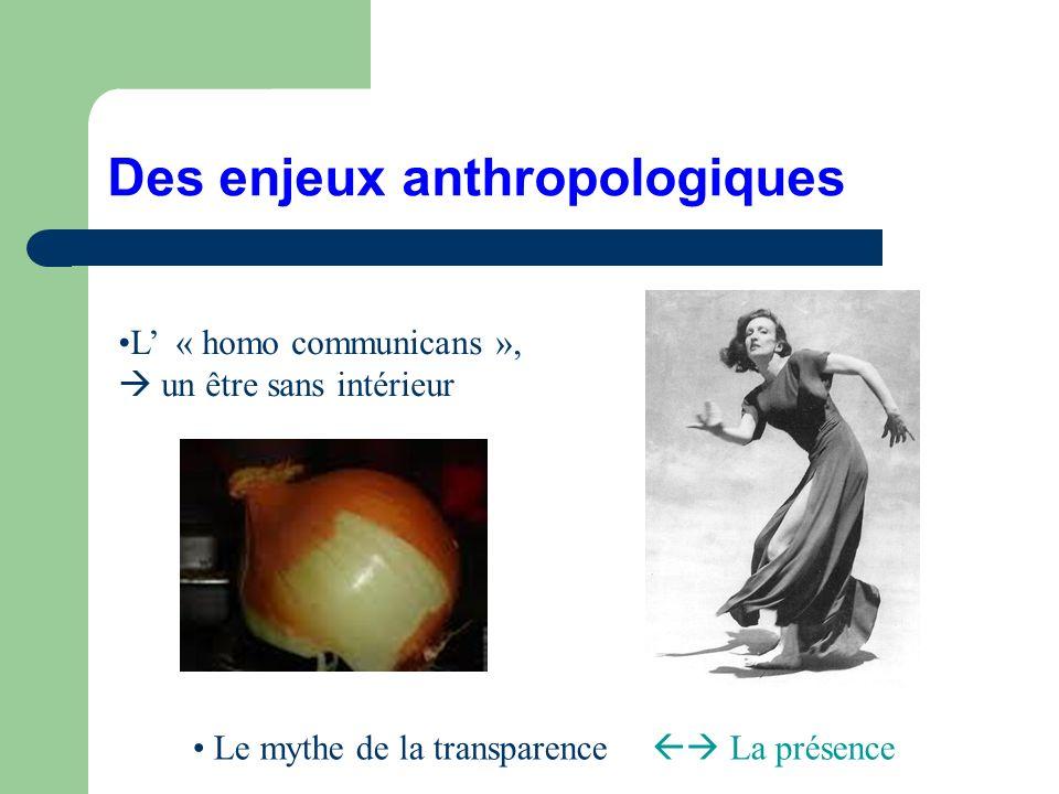 Des enjeux anthropologiques L « homo communicans », un être sans intérieur Le mythe de la transparence La présence