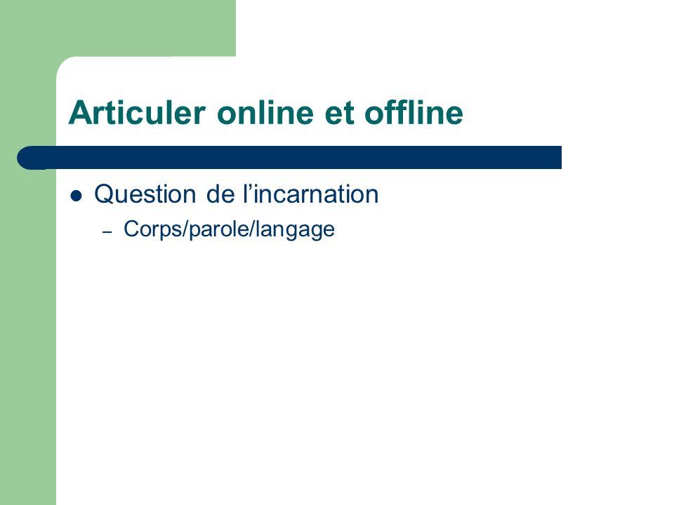Articuler online et offline Question de lincarnation – Corps/parole/langage