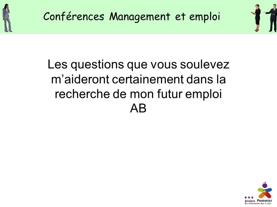 Les questions que vous soulevez maideront certainement dans la recherche de mon futur emploi AB Conférences Management et emploi