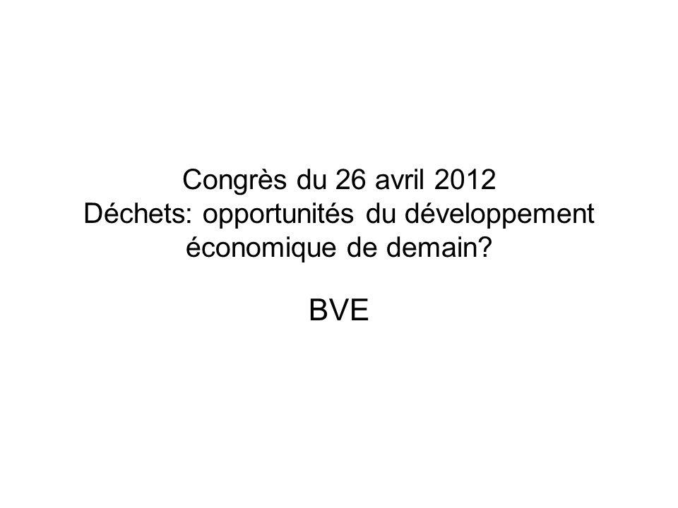 Congrès du 26 avril 2012 Déchets: opportunités du développement économique de demain BVE