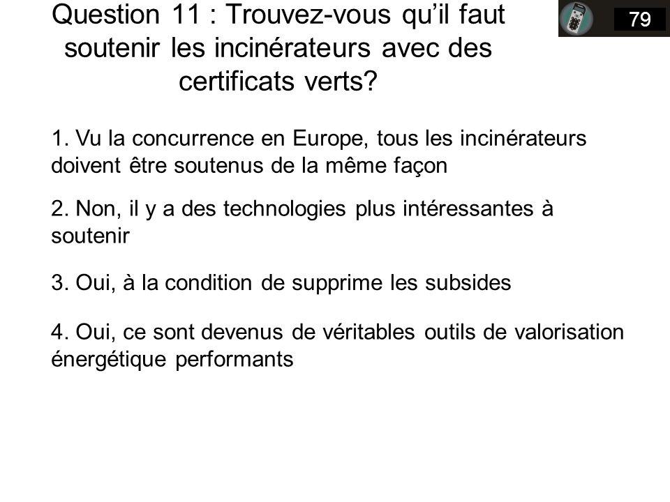 Question 11 : Trouvez-vous quil faut soutenir les incinérateurs avec des certificats verts.