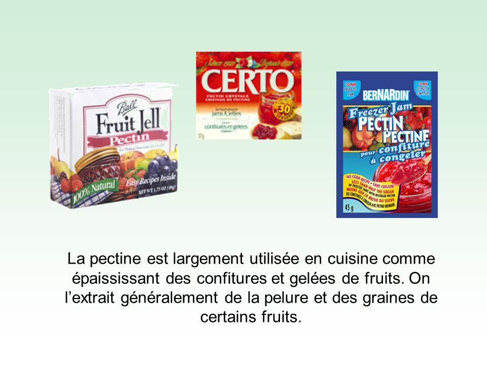La pectine est largement utilisée en cuisine comme épaississant des confitures et gelées de fruits.