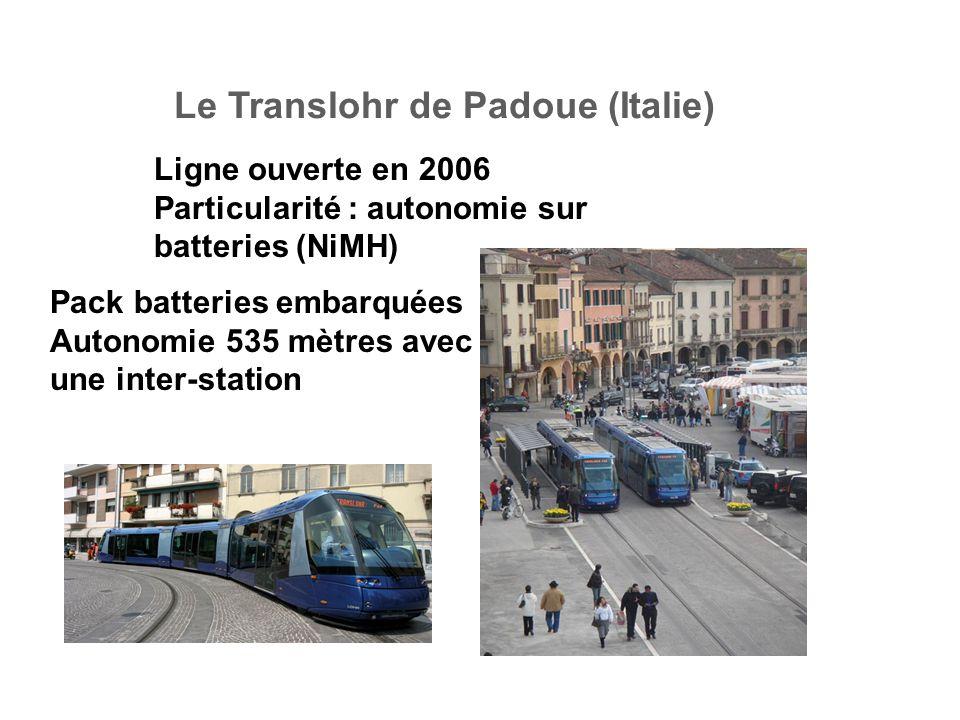 Le Translohr de Padoue (Italie) Ligne ouverte en 2006 Particularité : autonomie sur batteries (NiMH) Pack batteries embarquées Autonomie 535 mètres avec une inter-station