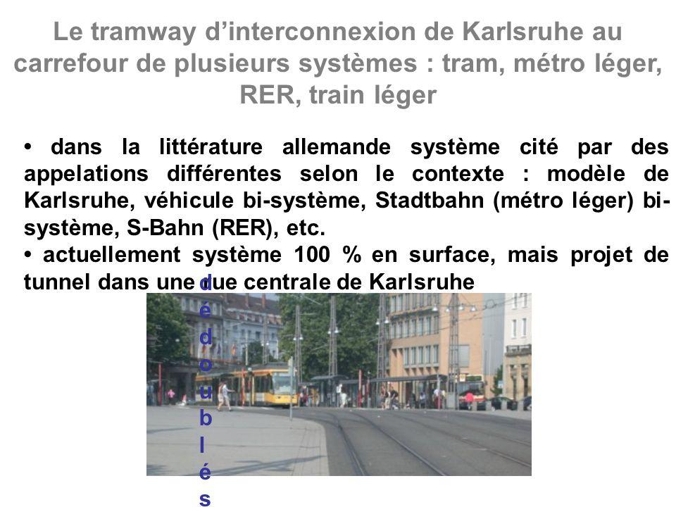 Le tramway dinterconnexion de Karlsruhe au carrefour de plusieurs systèmes : tram, métro léger, RER, train léger dans la littérature allemande système cité par des appelations différentes selon le contexte : modèle de Karlsruhe, véhicule bi-système, Stadtbahn (métro léger) bi- système, S-Bahn (RER), etc.