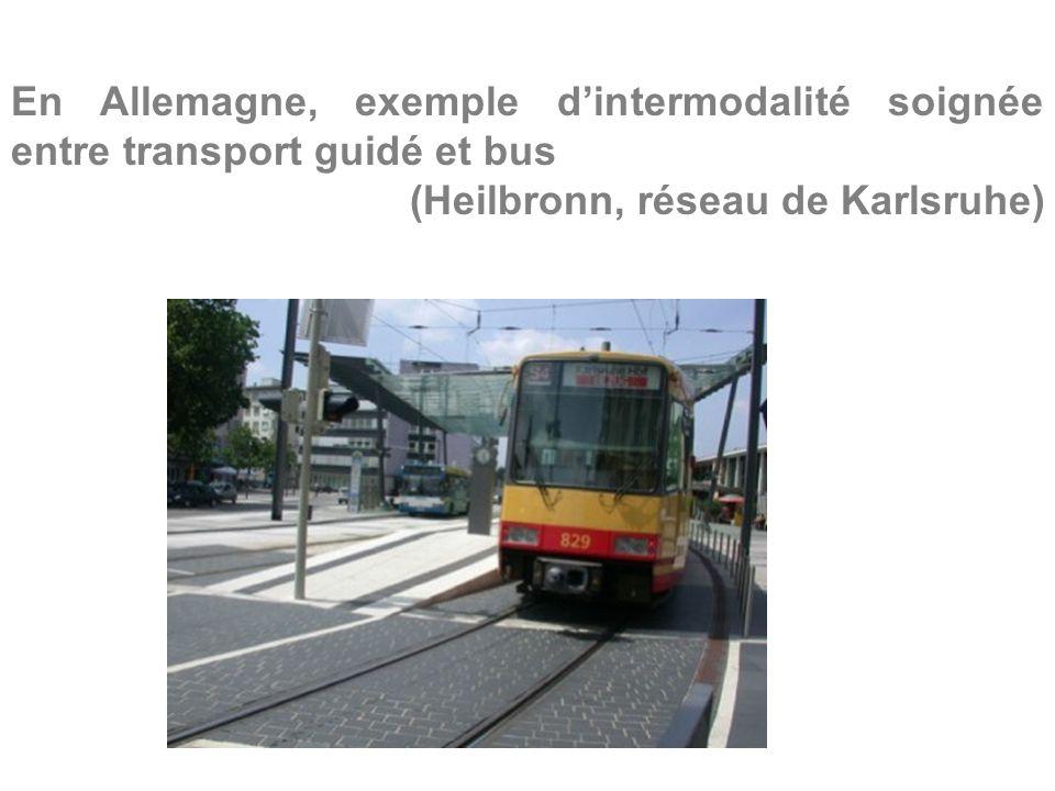 En Allemagne, exemple dintermodalité soignée entre transport guidé et bus (Heilbronn, réseau de Karlsruhe)